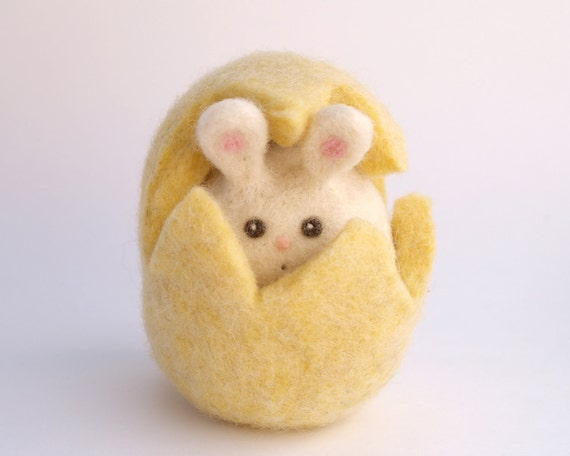 Yellow Bunny Hiding in her sweet Yellow Easter Egg . Needle Felted Toy . Waldorf Toy . Wool. Soft Animal Toy . Handmade