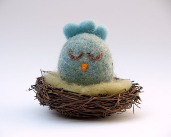Bluebird on her nest . Waldorf Toy . Needle Felted Wool . For Children