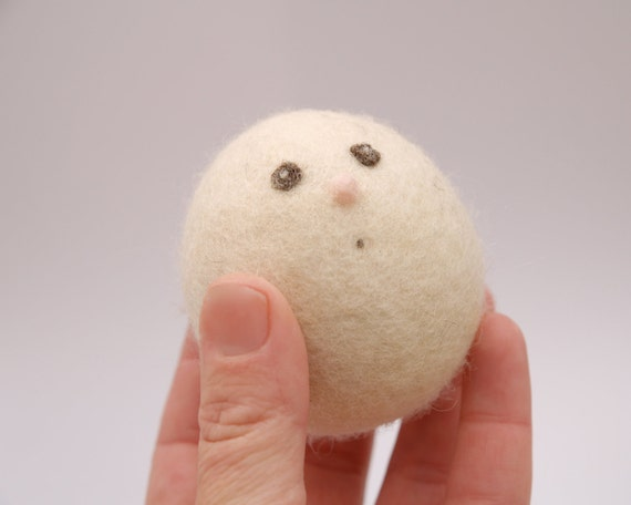 Wool Egg Toy for Easter .  Needle Felted Easter Egg . Waldorf . White