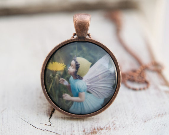 Fairy Princess Necklace, Girls Wearable Art jewelry, Flower Fairy pendant for children and adults . turquoise blue yellow magical fairytale