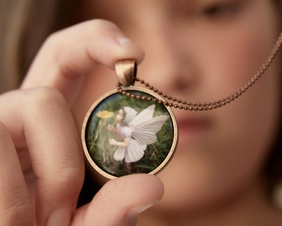 Wearable Art Photo Necklace, Flower Fairy Girls Jewelry Pendant for children and adults, magical fairytale