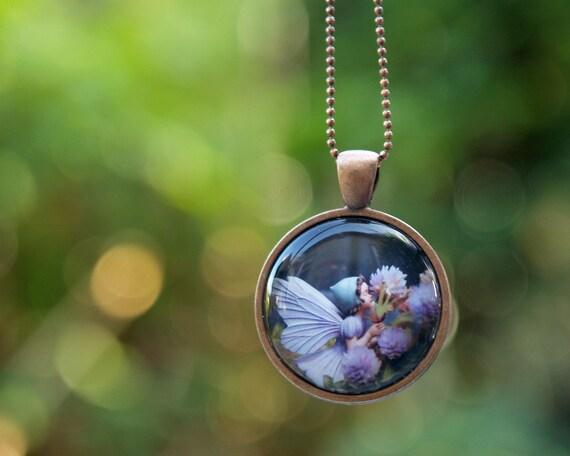 Flower Fairy Necklace, Wearable Art Pendant, magical jewelry for children - lavender purple mauve pink - woodland