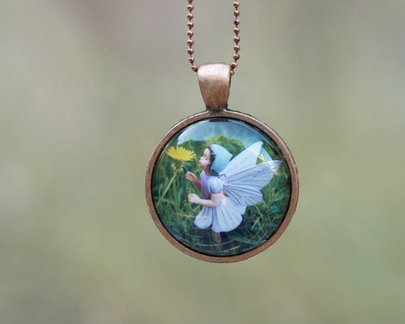Flower Fairy Necklace, Wearable Art Pendant, magical jewelry for children and adults