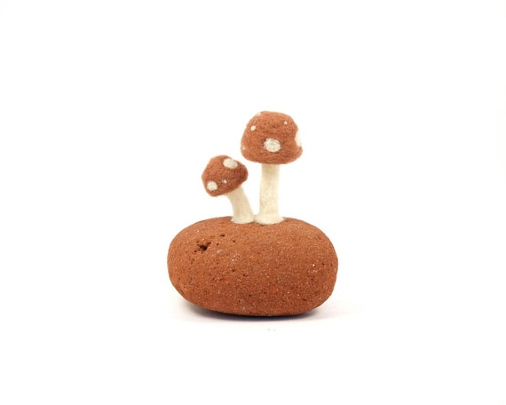 Brown Toadstool and Red Terracotta Sea Brick Art Sculpture, Needle Felted Wool and real sea brick, Whimsical Woodland Scene Fathers Day Gift