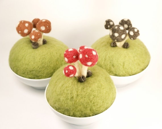 Woodland Home Decor, Waldorf Art, Needle Felted Toadstool Sculpture Scene, Unique Spring Decorating, Brown Wool and Green Moss, Deer Antler