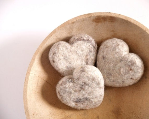 Gray Needle Felted Hearts, 3 Large Felt Wool Hearts, Love gift grey home decor - Seventh Wedding Anniversary 7th