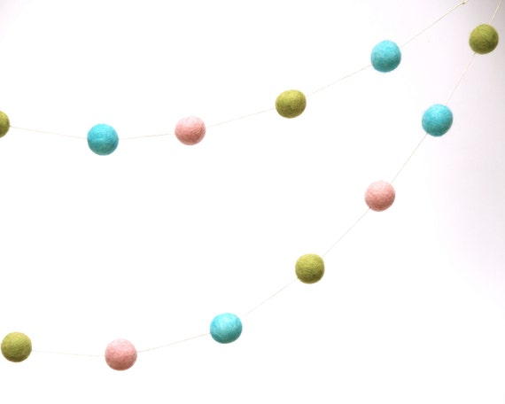 Felt Nursery Garland, Decorate your Babies Room with this delighful Turquoise Blue, Green and Pink felt banner
