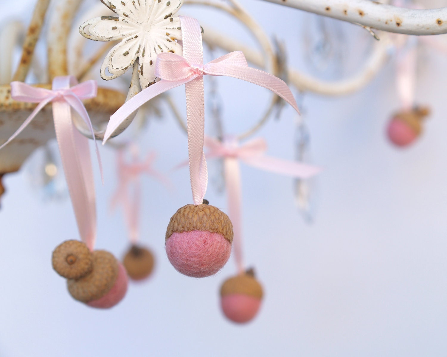 Pink christmas decorations acorn ornaments needle by fairyfolk for Pink christmas decorations