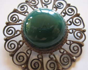 Vintage Sterling Taxco Brooch Pin Designer Brooch Dark Green Stone Mexican Silver