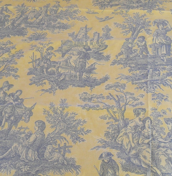 country life lake blue yellow toile 1plus yard vintage fabric. Black Bedroom Furniture Sets. Home Design Ideas
