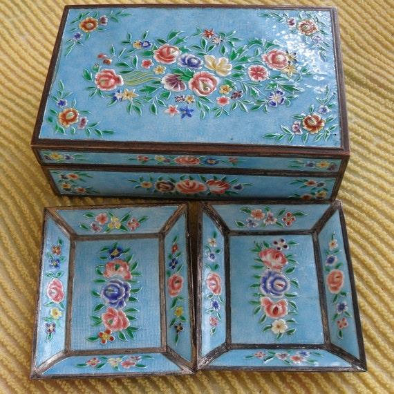 Vintage Cloisonne Cigarette Box Humidor and Ashtray Set Roses