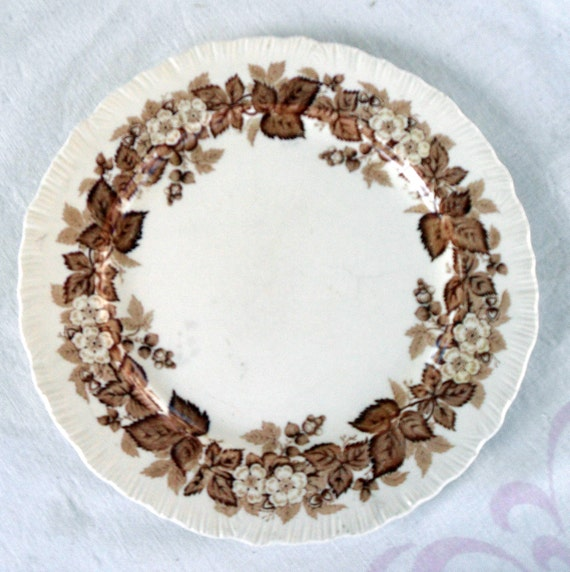 Vintage Wedgwood Brown And White Transferware Dinner Plate