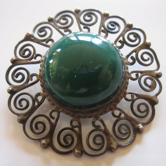 Vintage Sterling Taxco Brooch Pin Designer Brooch Dark Green Stone Mexican Silver