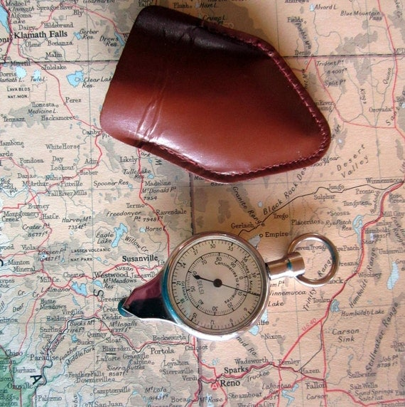 Vintage Pocket Compass Map Measurer Selsi Tool Germany