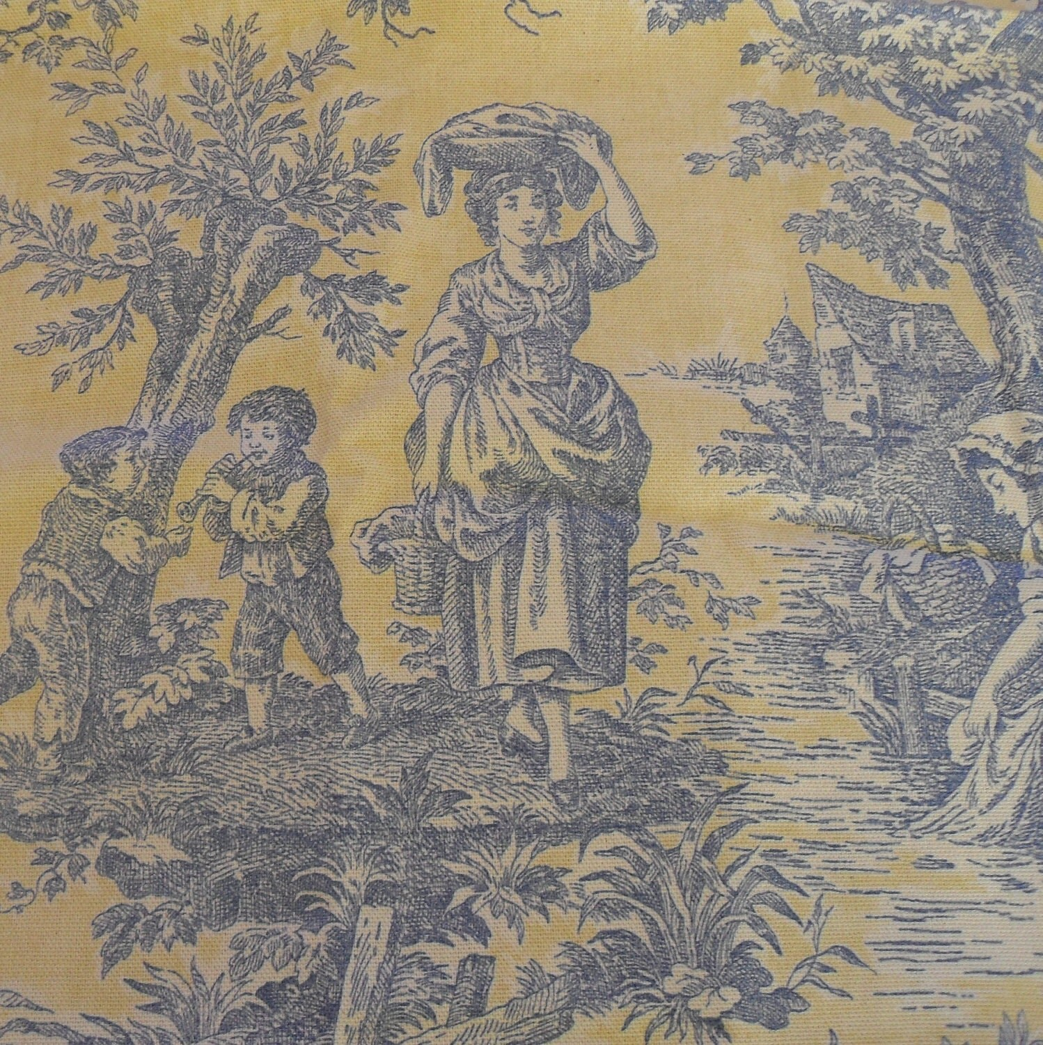 Country Life Lake Blue Yellow Toile 1plus Yard Vintage Fabric