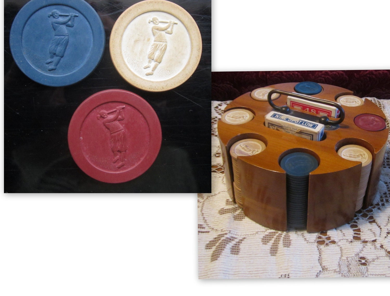 vintage poker chip set
