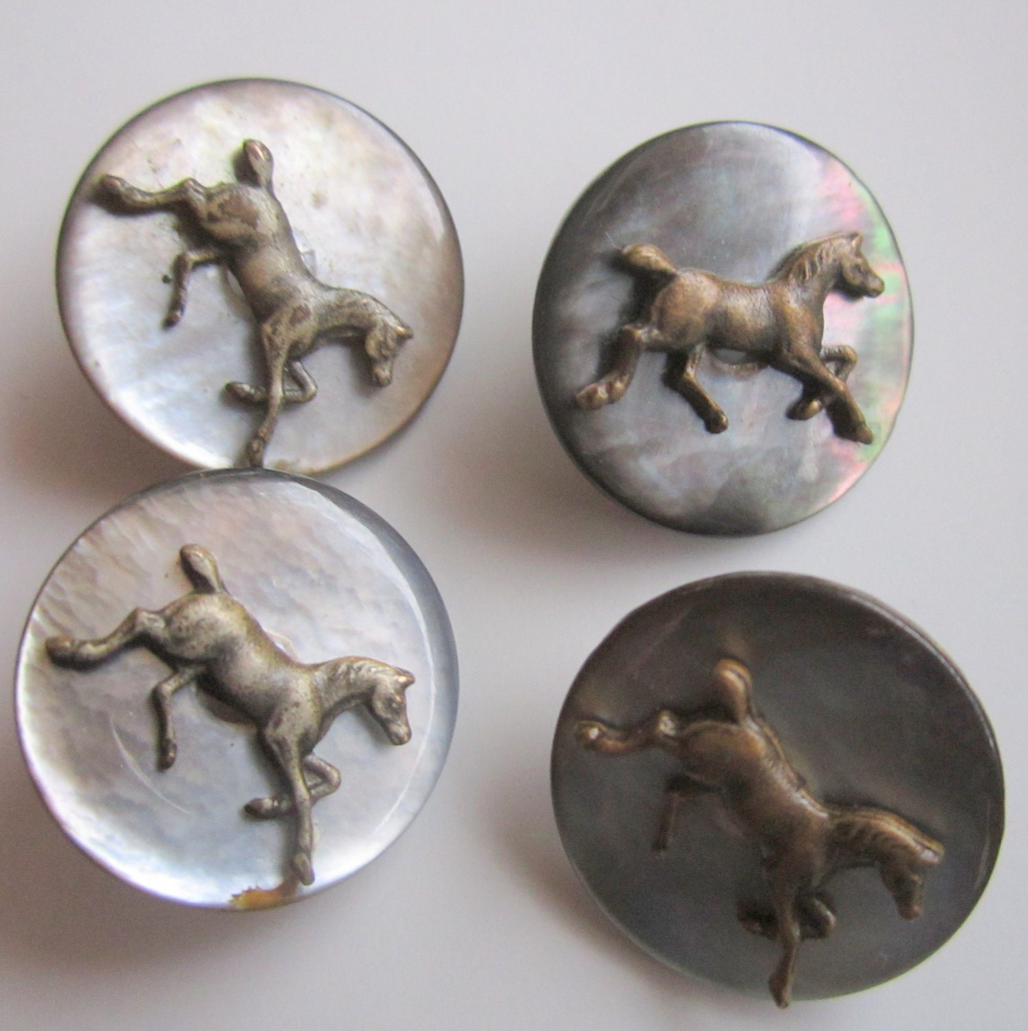 Vintage Horse Buttons Equestrian Abalone 4 Buttons