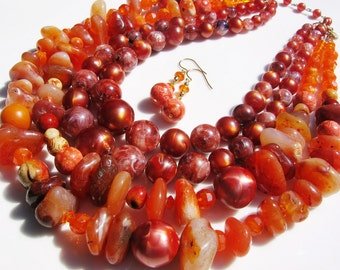 Carnelian, sponge coral and vintage Coro necklace