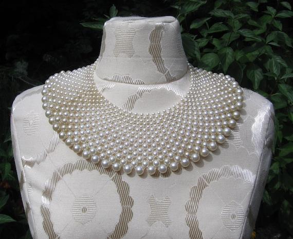 SALE -- Stunning Vintage Pearl Collar Bib Necklace
