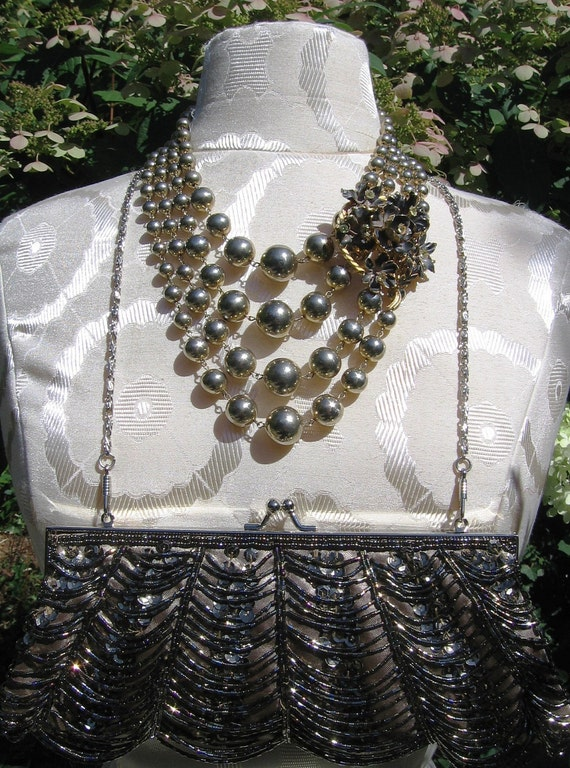 Redesigned vintage spherical bead necklace, topaz rhinestone pin, beaded clutch set