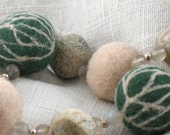 Felt bead necklace fossil agate green white