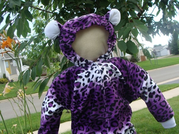 Luxurious Toddler 2T/3 Purple, Black and White Leopard Costume For Halloween or Playtime
