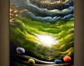 original textured lollipop tree painting 16 x 20 Mattsart