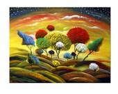 colorful lollipop tree star landscape cloud sunset print Mattsart