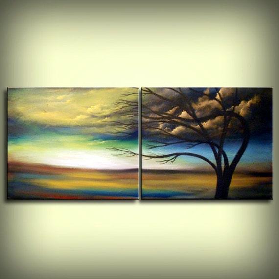 Large Tree Painting Silhouette Tree Cloud Painting Original