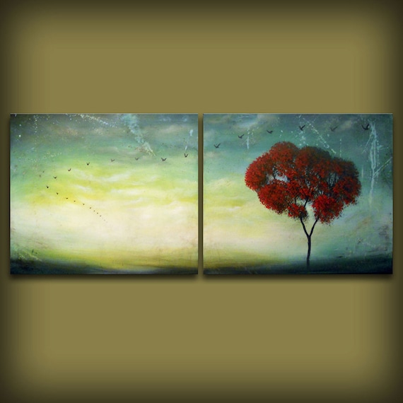 cloud painting tree painting large abstract  landscape 56 x 22