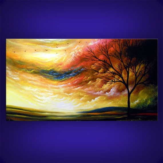 cloud painting abstract original painting giclee print landscape impressionist 24 x 48 inch Mattsart