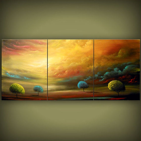 triptych original painting large art abstract Original Painting tree painting huge surreal gold modern landscape painting 54 x 24