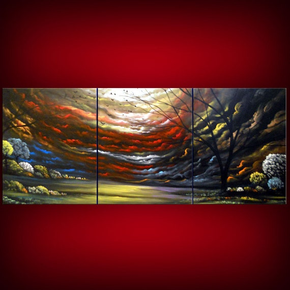 art original abstract painting abstract triptych large Original Painting tree painting huge surreal red modern landscape 54 x 24