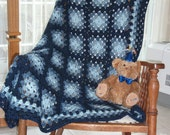 Granny Square Blues Baby Afghan