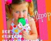 PDF edesign CUSTOM pattern tutorial. No paper to print. You can sew customs. My girl Lollipop halter twirl top dress trendykiddz edesign