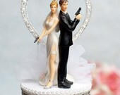 Super Sexy Spy Rhinestone Heart Wedding Cake Topper - Custom Painted Hair Color Available - 100207