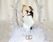 Double Arch Rhinestone Cake Topper - Custom Painted Hair Color Available - 100610