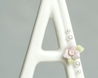 Rose and Pearl Accented Porcelain Monogram Cake Topper