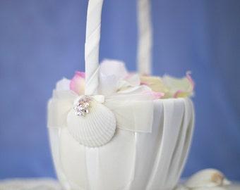 Rhinestone Shell Hawaiian Beach Wedding Flowergirl Basket - 80105