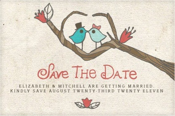 Latte lovebirds save the date digital template 4 x 6 for Electronic save the date templates