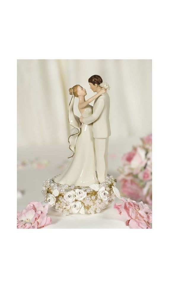 Vintage Rose Pearl Wedding Cake Topper - Custom Painted Hair Color Available - 101140