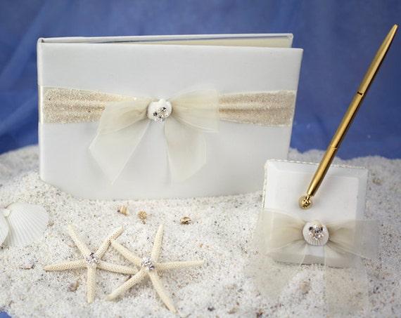 Rhinestone Shell Hawaiian Beach Wedding Guestbook and Pen Set - C20-25105