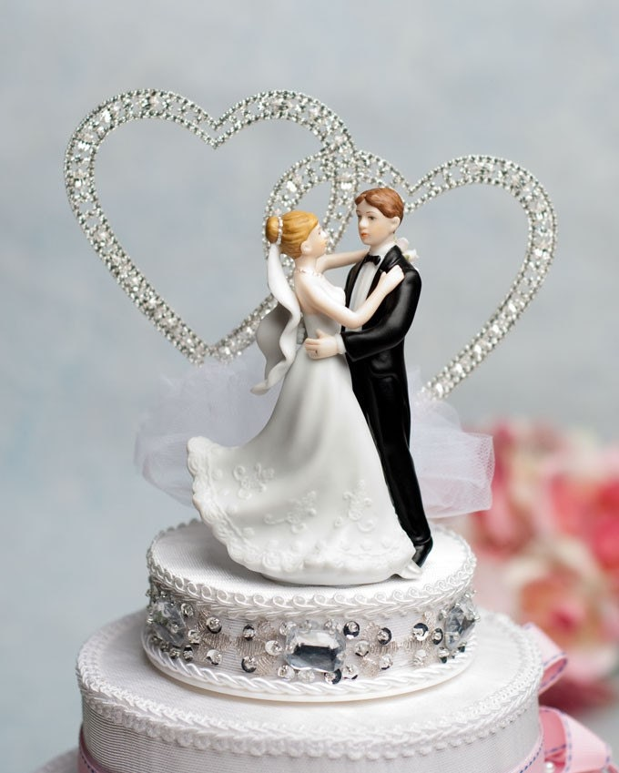 wedding cake toppers with rhinestones and groom rhinestone hearts by 26640