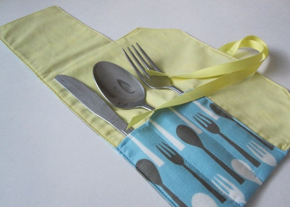 Flatware Pouch- Morning Call Forks and Spoons