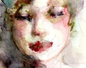 "RESERVED for L - Wall Art Giclee Print ""Summers Face"" 5x7 Original Watercolor Painting Free Shipping Best Seller Portrait Painting Print"
