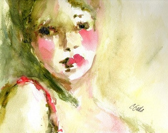 Portrait of Woman in Olive Green Pink and Red Giclee Print  From Original Watercolor