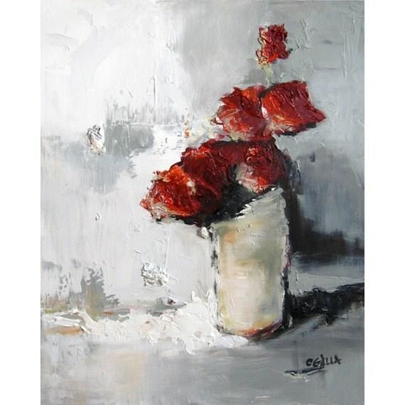 Red and Gray Flower Still Life Impasto Oil Painting on Canvas Half Dozen 24x30