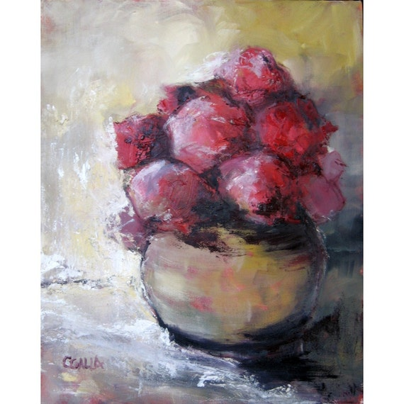 """RESERVED For C Red Flowers in a Brass Vase Original Oil Painting on Canvas 16"""" x 20"""""""