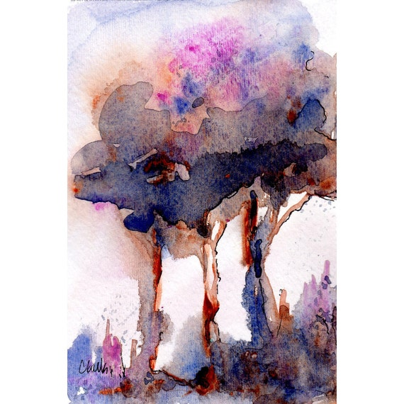 The Arbor  Watercolor Tree Painting Original Painting in Pinks Blue and Rust