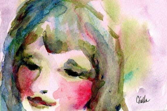 She Has Blue Hair Original Painting Watercolor Woman Ladys Face